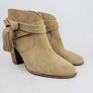 Vince Camuto Tan Tasseled Heels Ancle Boots 8 1/2